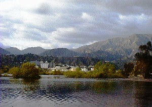 View of JPL on the shores of lovely Lake Hahamongna, with the majestic San Gabriels in the background